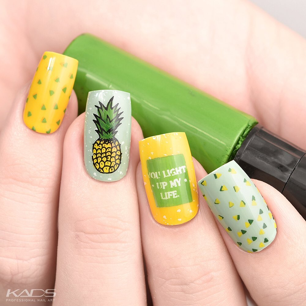 Nail design using KADS stamping plate Summer 006 from AliExpress store(link in bio). aliexpress
