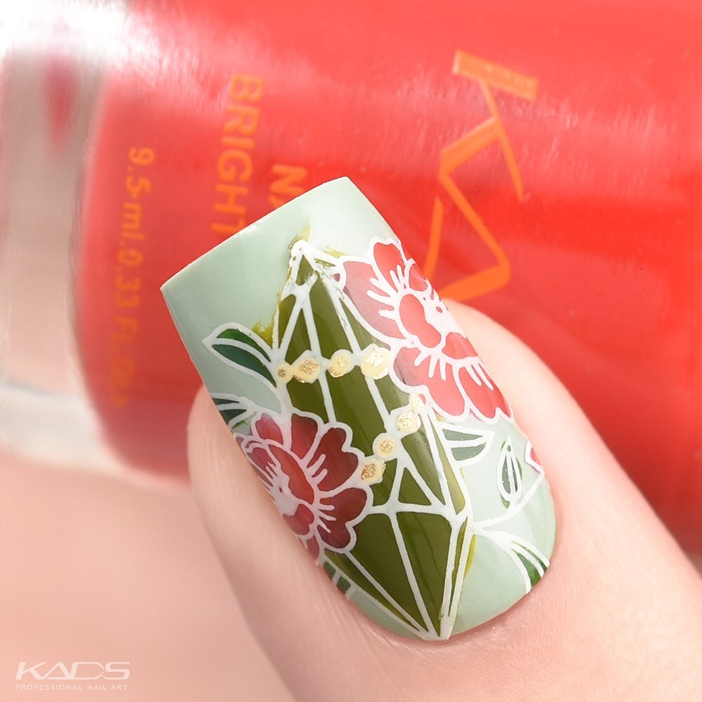 Nail design using KADS stamping plate Fashion 012 from AliExpress store(link in bio). aliexpress