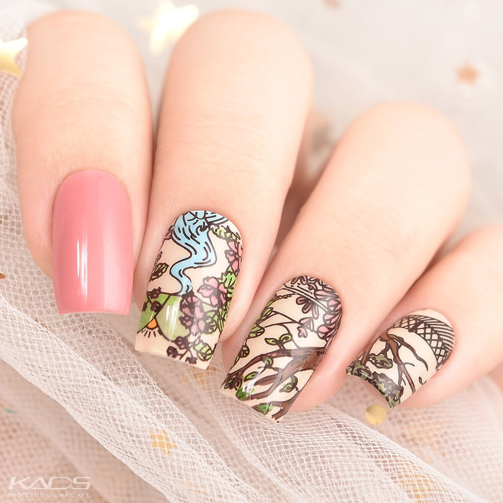 Nail design using KADS stamping plate Nature 021 from AliExpress store(link in bio). aliexpress