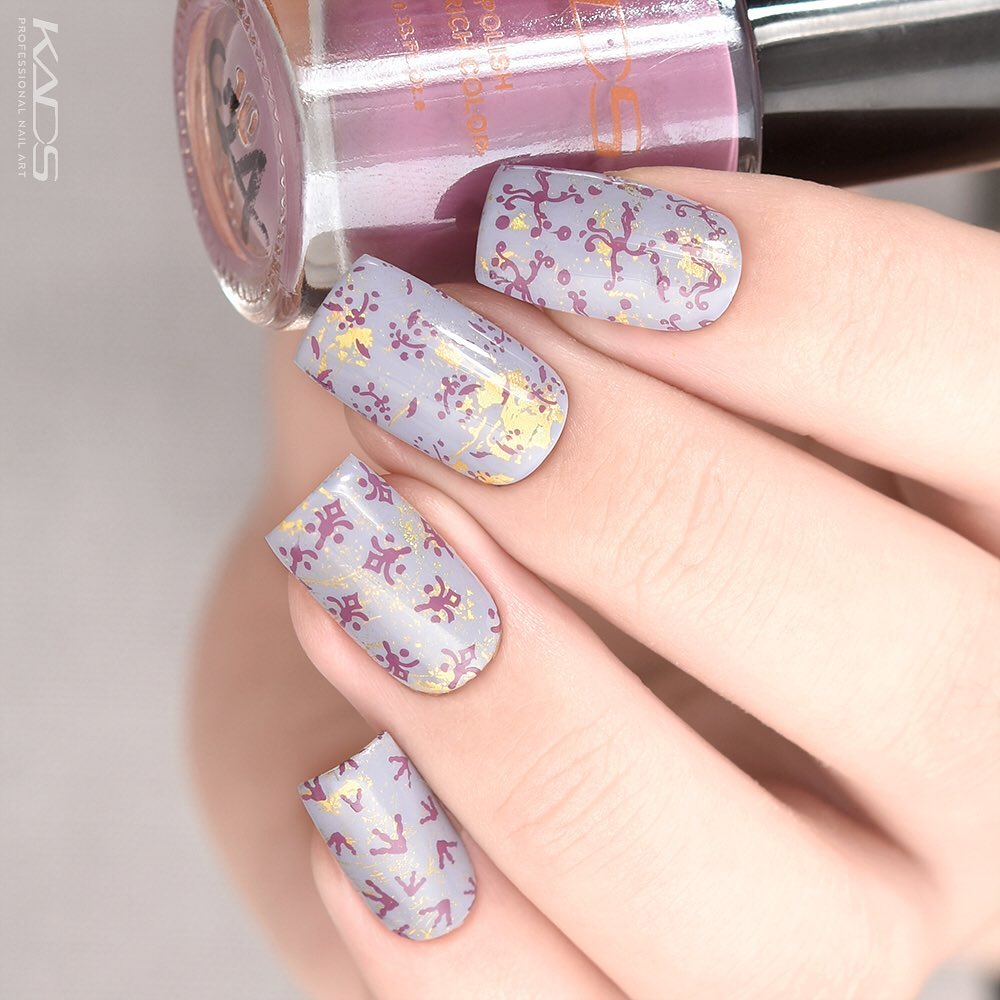Nail design using KADS stamping plate MIN 029 from AliExpress store(link in bio). aliexpress