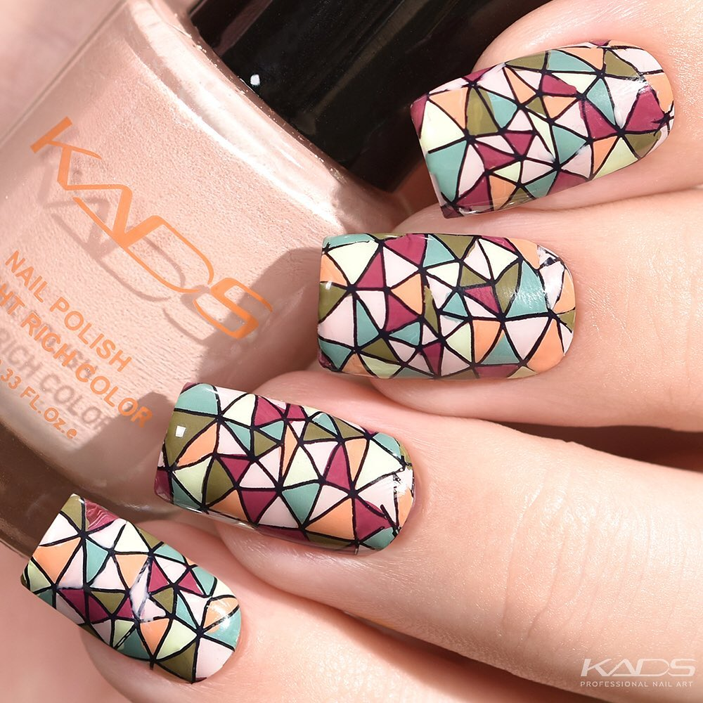 Nail design using KADS stamping plate Geometry 008 from AliExpress store(link in bio).  aliexpress