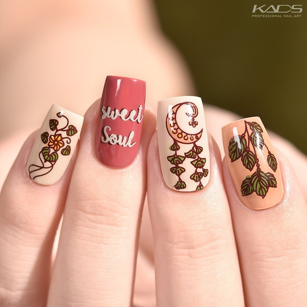 Nail design using KADS stamping plate Fashion 039 from AliExpress store(link in bio).   aliexpress