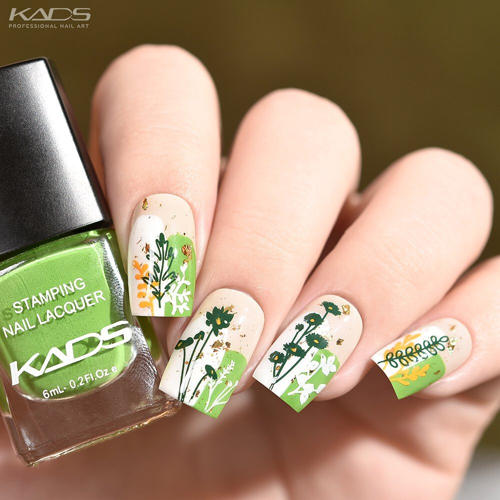 Nail design using KADS stamping plate Natrure 027 from AliExpress store(link in bio).  aliexpress