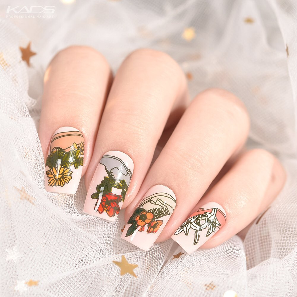 Nail design using KADS stamping plate Flower 025 from AliExpress store(link in bio).  nailshop