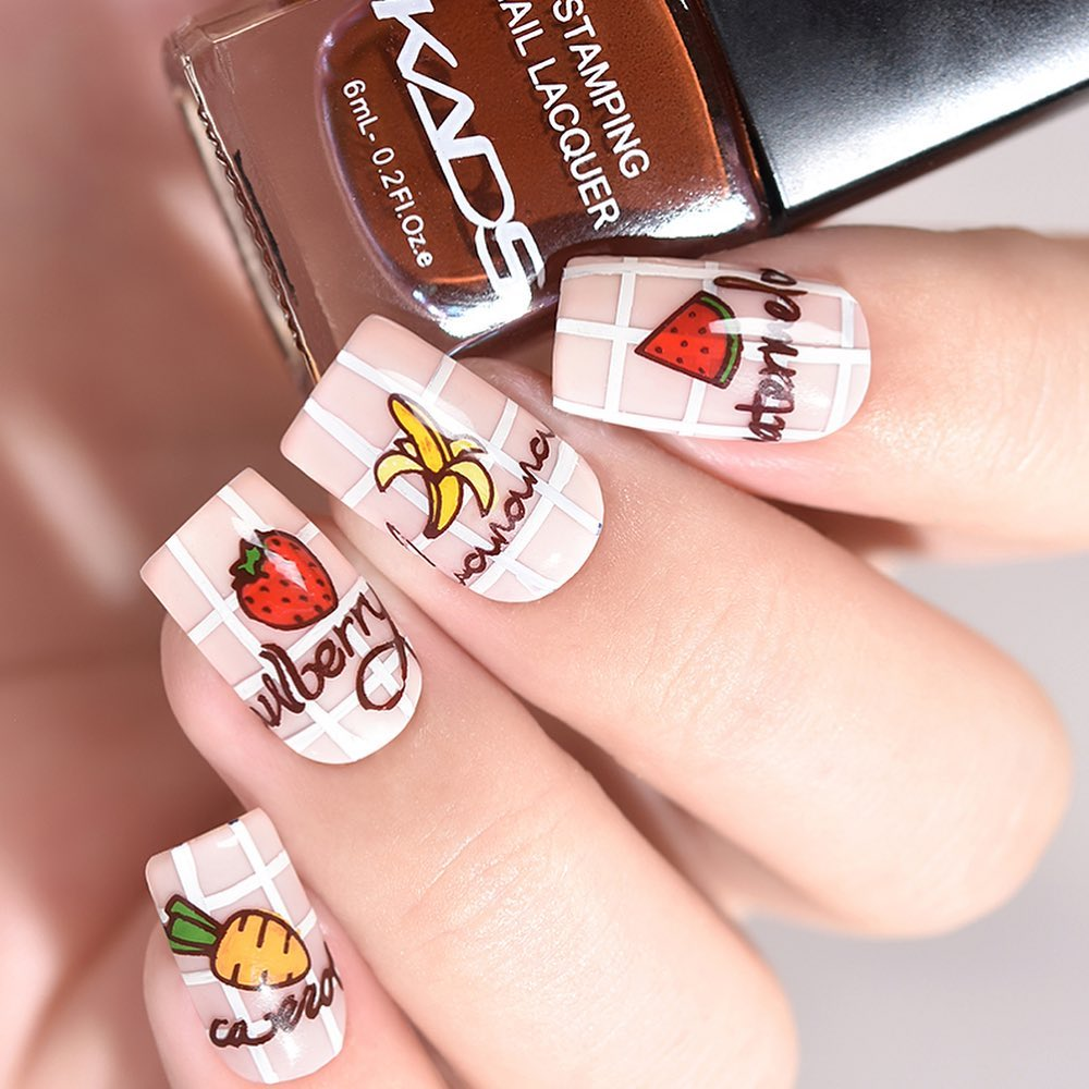 Nail design using KADS stamping plate Fashion 053 from AliExpress store(link in bio).   nailshop