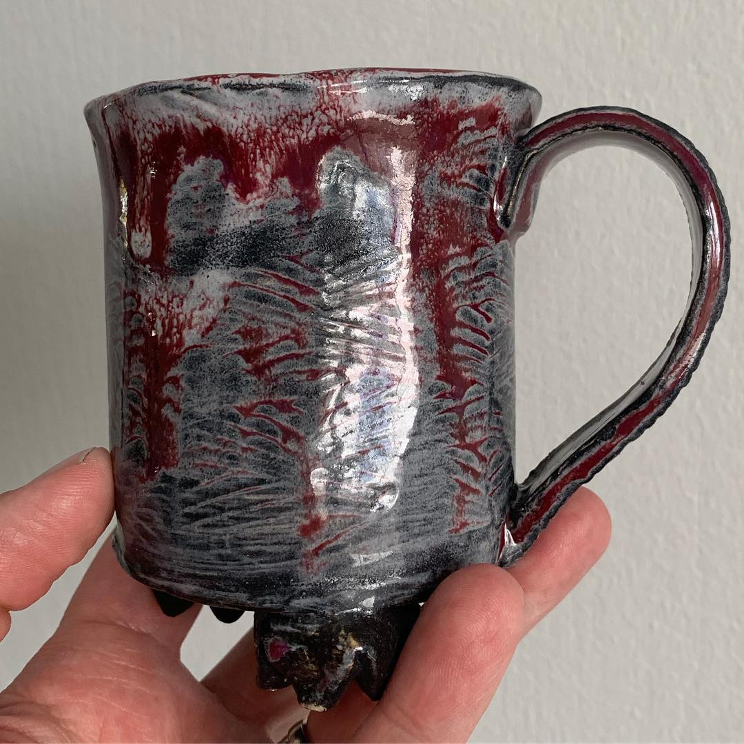 Fresh from the kiln hand built mug.  I dont do a lot of hand built mugs but was inspired after NCECA and see so many amazing hand built mugs. I am in love with how the glaze turned out on this one.  Check out my stories for a video of this bad boy :) pottery