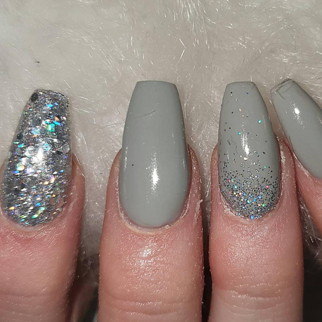 Gorgeous greys  silver holographic glitter ....greynails