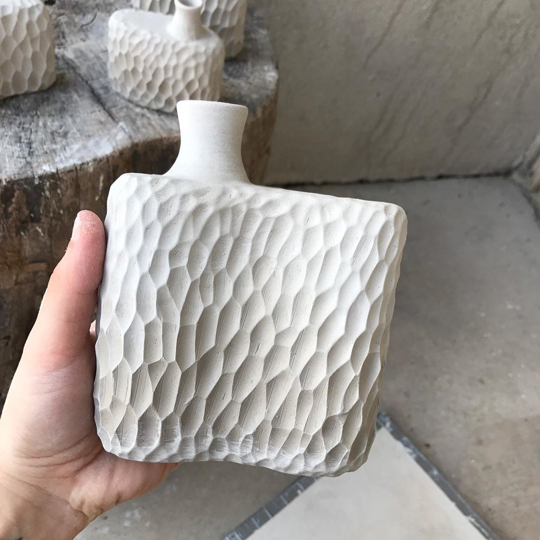 Carved flasks!! I'm super excited about these but we'll have to see if they survive the bisque firing