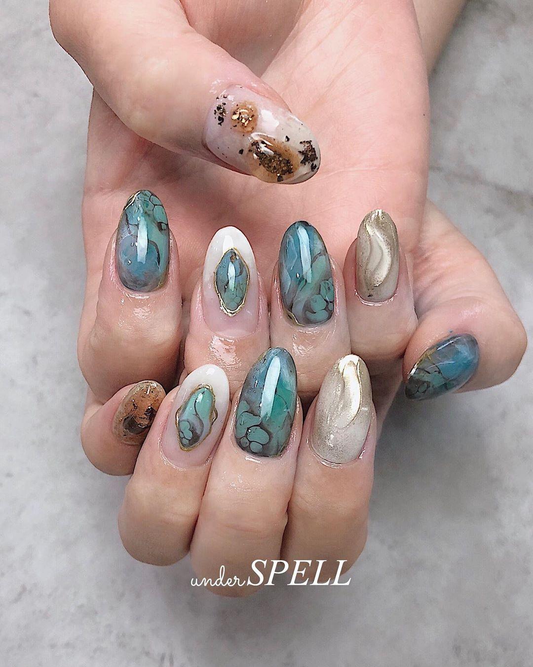 turquoise nail  turquoisenails