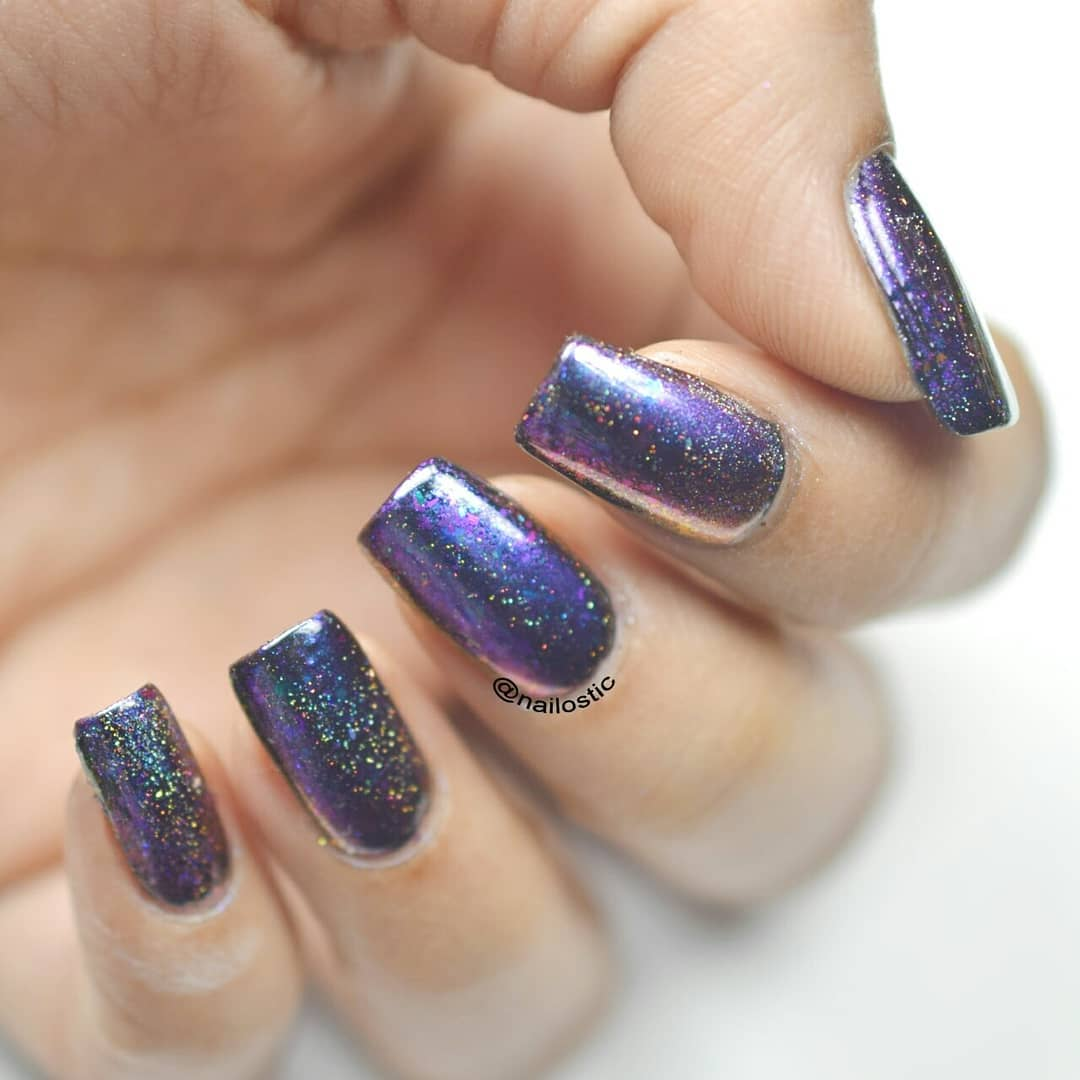 Here is Holographic Chameleon Mirror Nail Powder from Products I used : Holographic Chameleon Mirror Nail Powder from item id 41970 UNT Ready for Takeoff Peel Off Base Coat Black Color from No-Wipe Gel Top Coat from item id 39795Don't forget to use 10% Discount Code PRTW10 at BPS....instanails