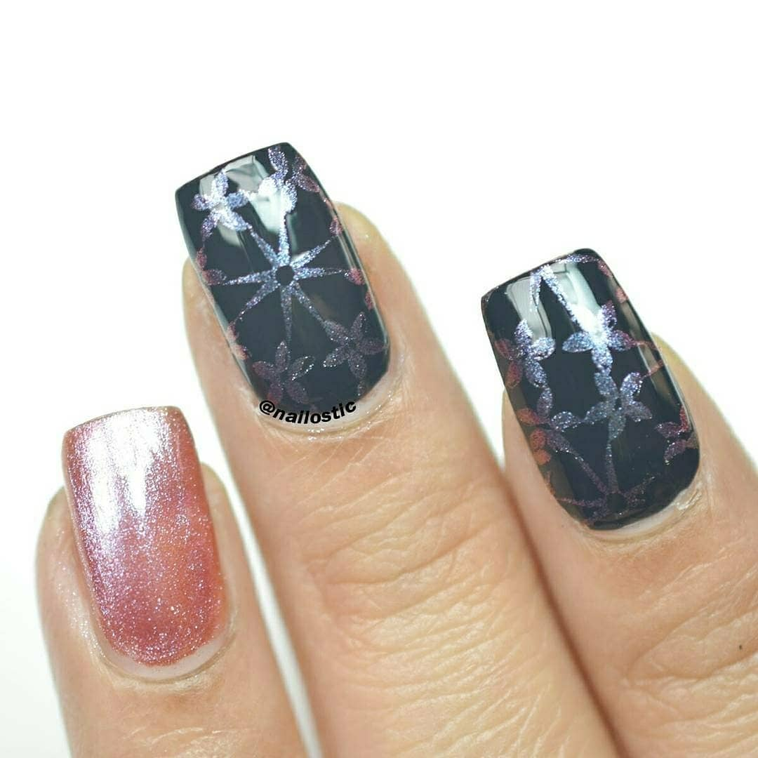 Stamping NailsProducts I used : UNT Ready for Takeoff Peel Off Base Coat Water-based Top Coat fromid 39350 Chameleon Pearl Stamping Polish fromid 41594 Black Base Color fromNail Art Stamping Image Plate BP-110 fromid 33743 Clear Jelly Nail Stamper fromid 39364Don't forget to use 10% Discount Code PRTW10 at BPS... .instanails