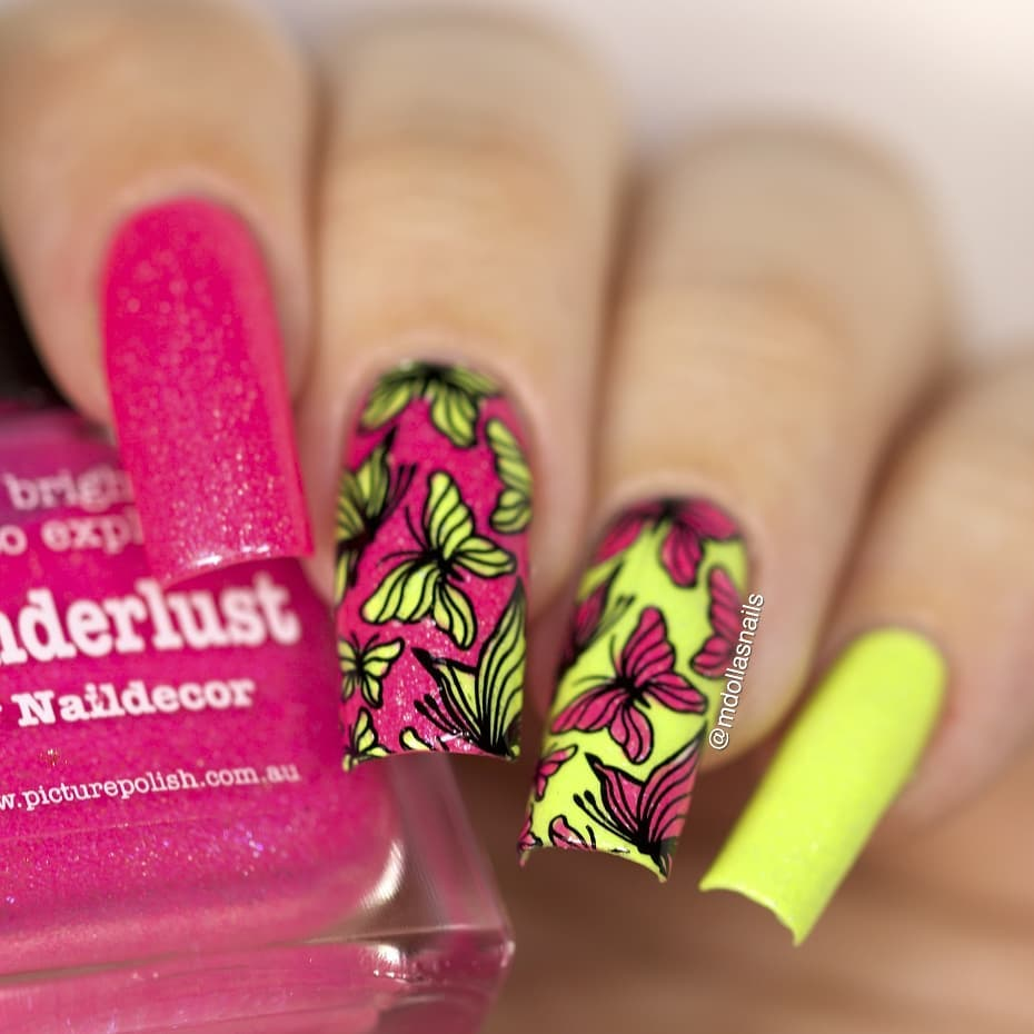 ButterfilesI used Wanderlust and Fresh stamped with XL-022 plate.Don'tforget to use my discount code Mdol10 ongle