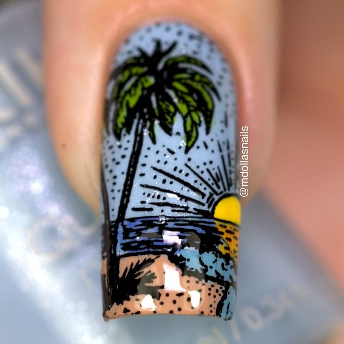 Summer manicure with 849, stamped with SB077 plate. ongle