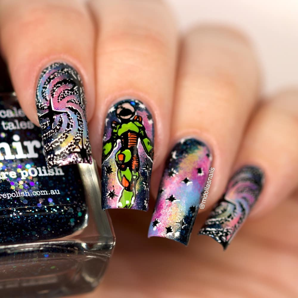 Space mani for the I used Saphira, and so many colors for the space, stamped with 29 plate.doublestamping