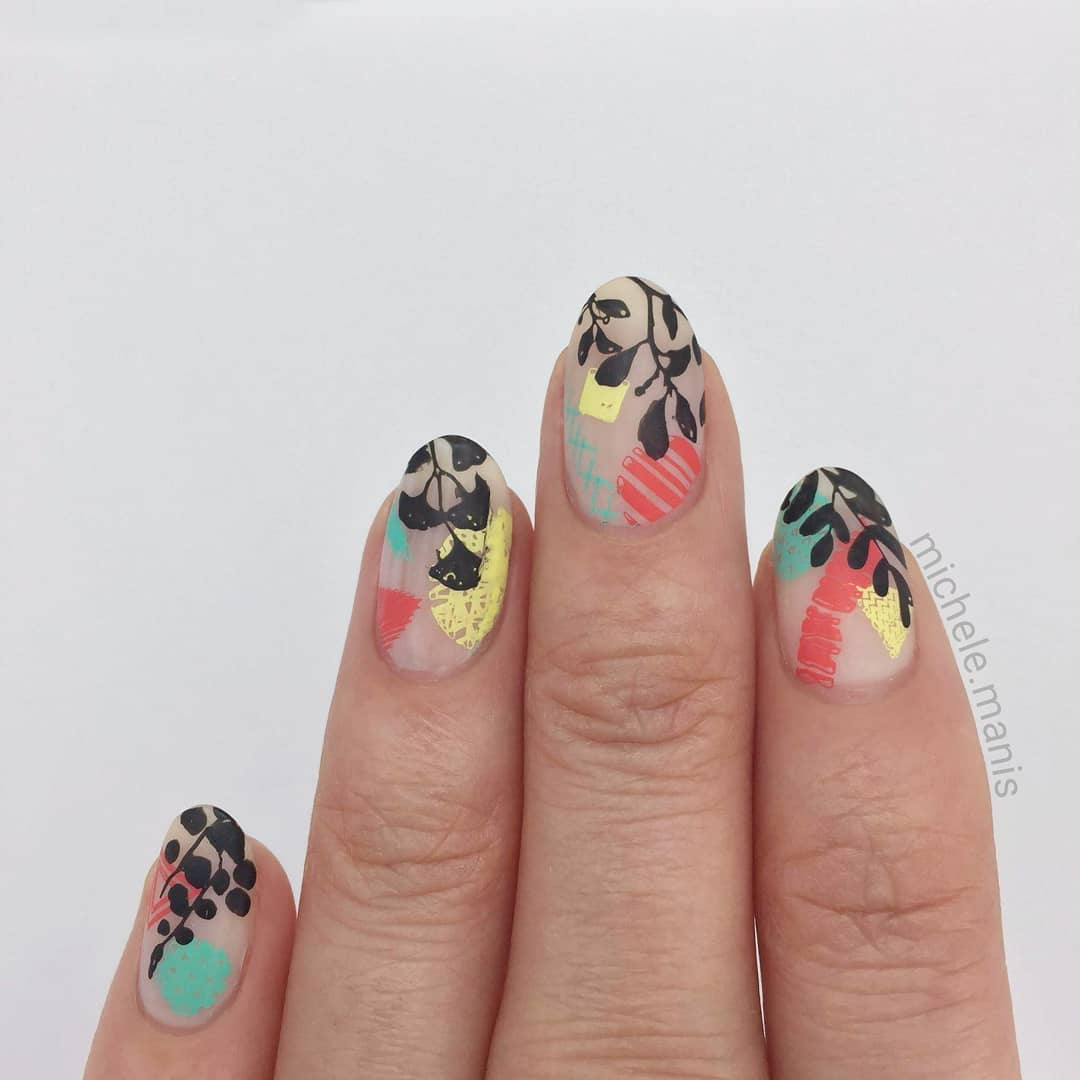 It's gloriously hot here in Montreal. I love it, I don't want it to end. Do you like the heat?----------Matte color blockleaves mani.Plates etc in last post.*For a free ebook guide on nail stamping supplies, just go to the link in my profile or bit.lynailstampingguideinstanails
