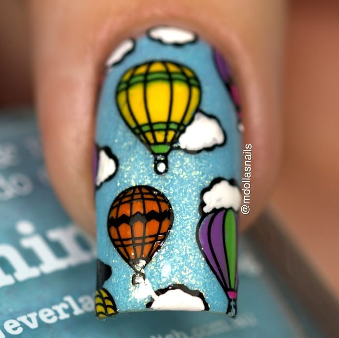 Air Balloons mani with Whimsy and stamped with B042 Head in the clouds plate. I hope you like itongle