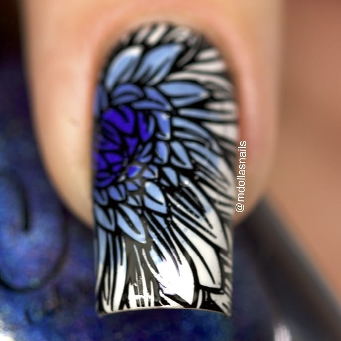 Blue flower mani with Sexy mother, Capacity to see beyond, Uv mean to be, I sea the point, stamped with B005 - Nature's beauty garden plate.ongle