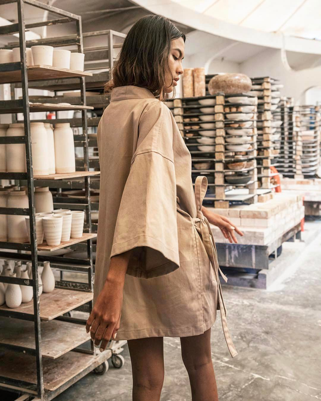 A catwalk in a ceramic studio? How chic and fashionable is that?!?.Regrann from - Free spirit in the Camel Kimono .....instacool