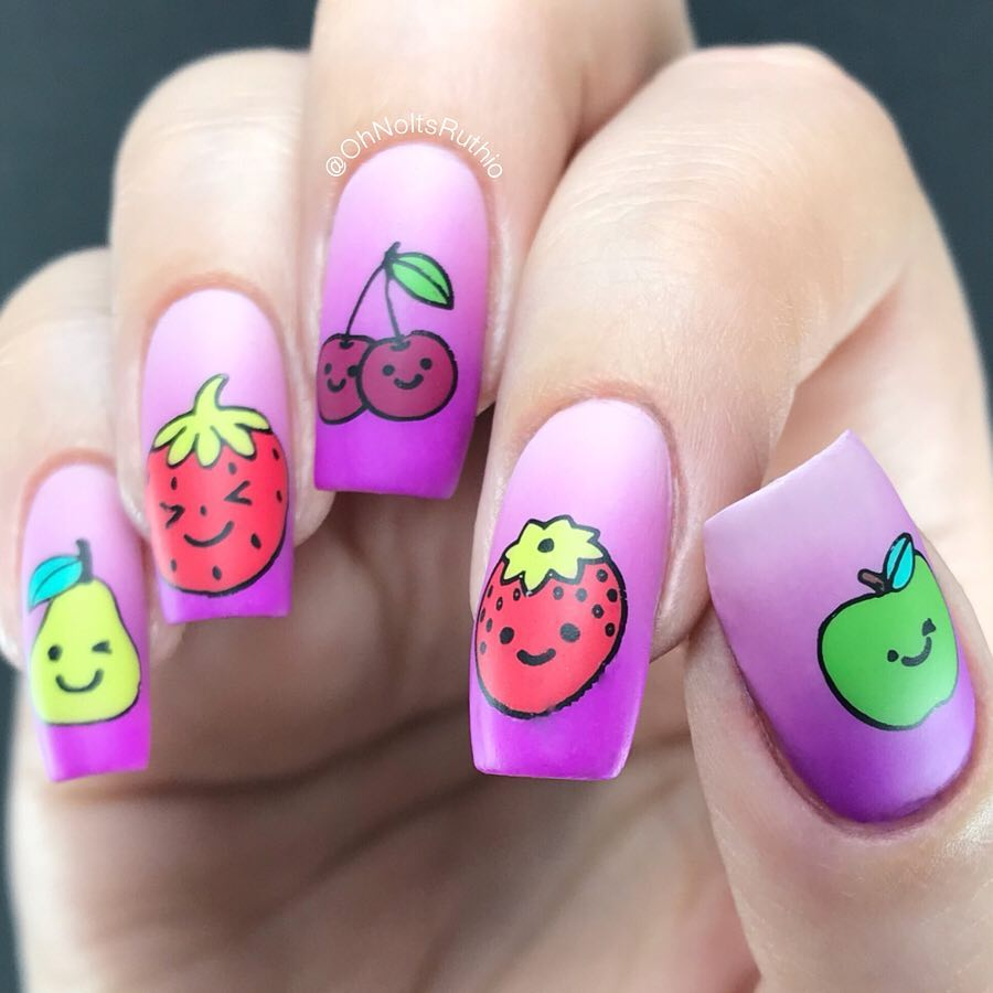 For these Kawaii fruit nails I revisited the new Reverse Stamping plate. The first design I did with this plate was one of my most liked pics of all time...  I get it! Its such a cute plate you cant really go wrong..Which fruit is your favourite? I love cherries the best, and I think its my fave image too (look at the precious, teeny-tiny faces).If youre UKEU based,stock this plate too - and you can use my code RUTH10 for 10% off Dixie Plates products if you fancy some new designs. (This is not an affiliate code I just love the brand!).PRSample nailitdaily