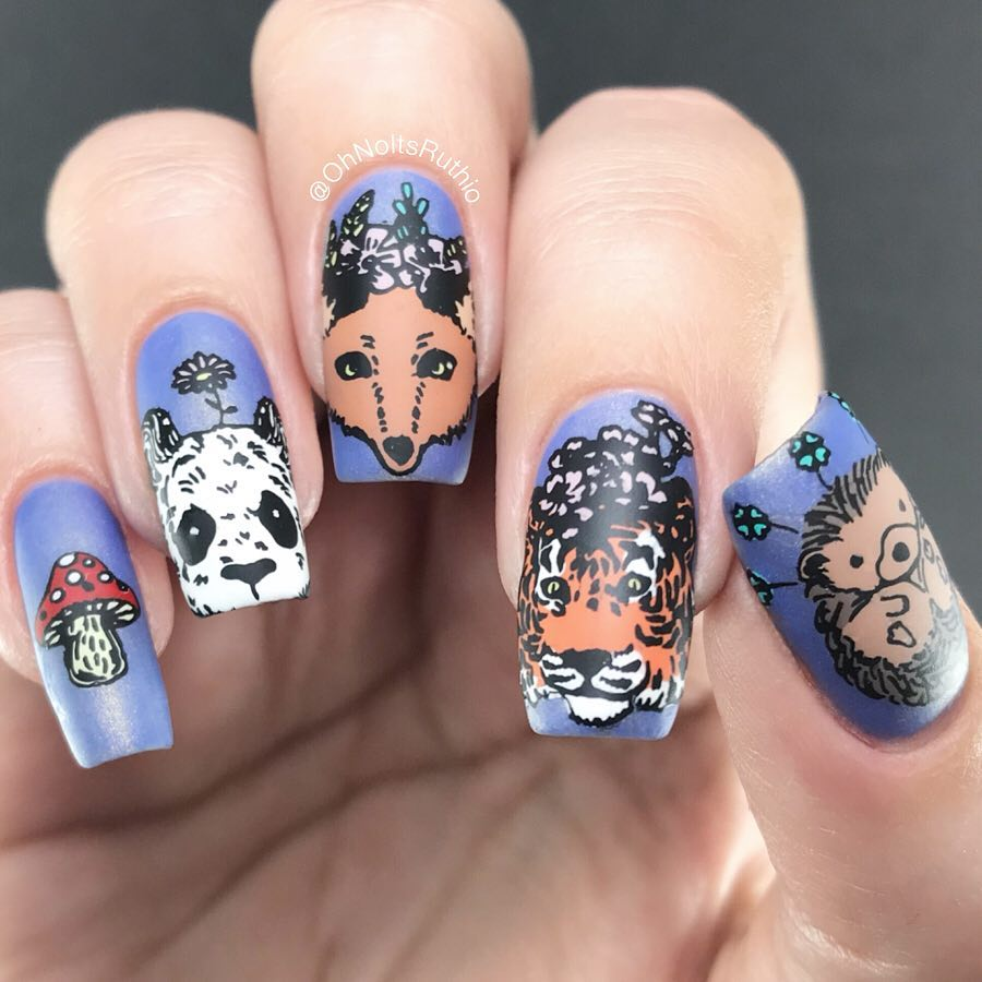 So stamping plate ZOO 003 is too cute and I struggled to pick which animals to wear. Decisions decisions! In the end I went with a giant panda  , a fox  (I think), a tiger  and a hedgehog  because I felt like it, thats why!.Seriously this plate is adorable, I could see it coming in handy for some wonderful autumnal nails later in the year too! .PRSample nailitdaily