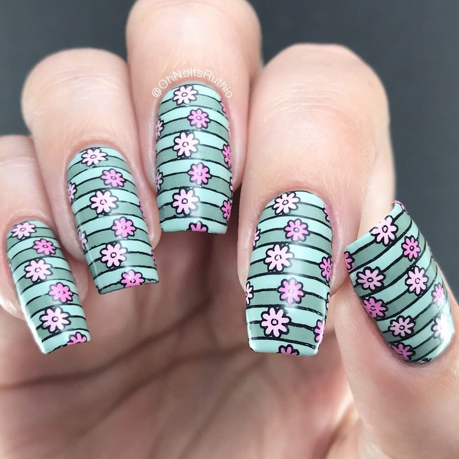 I saw lots of beautiful cherry blossom trees over this bank holiday weekend  so I needed to wear some on my nails! Thats why I chose this image..Reverse stamped from SB078..Sugar Bubbles plates are also available at uk stockist where you can use code OHNOITSRUTHIO for 10% off!.PRSample nailitdaily
