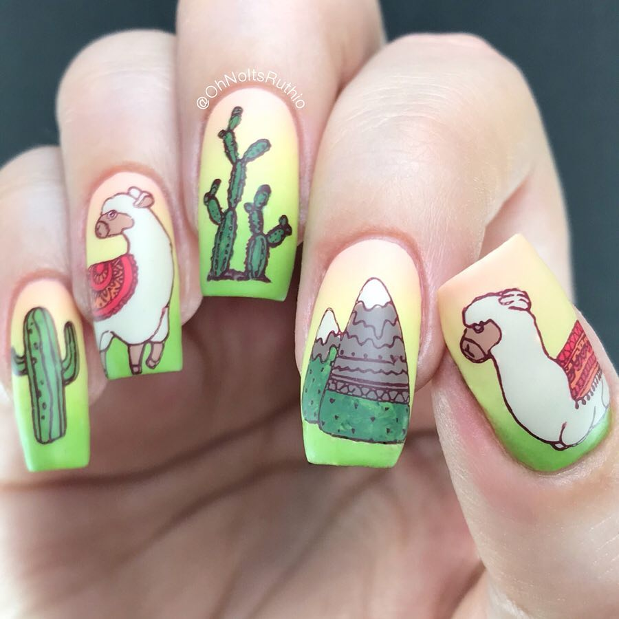 Llama nails!I was trying to think of a witty caption  then I was just like eeeeh! Theyre so cute. I love their little rugs..Using new stamping plate SB081. Thanks so much to Vivi for sending it my way..PRSample reversestamping