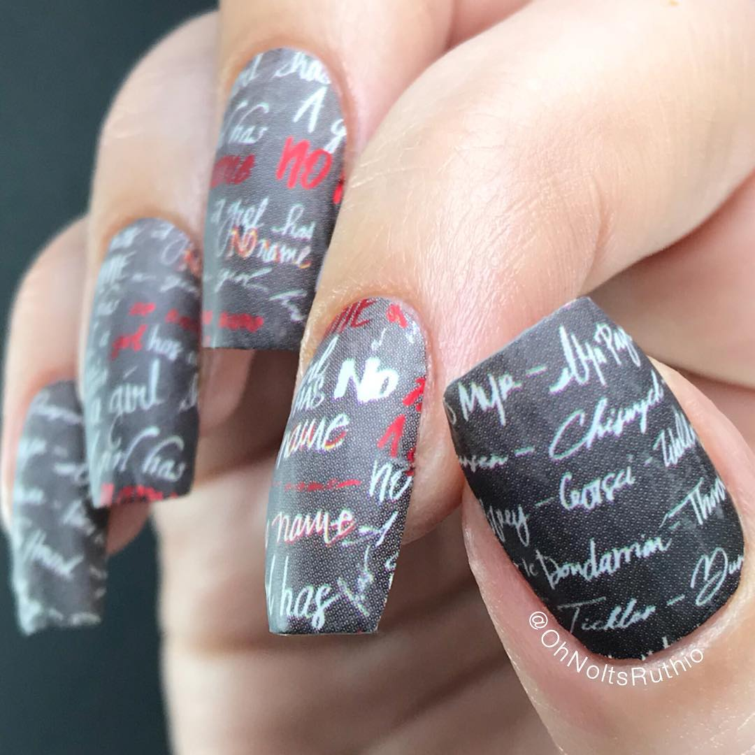 Anyone else excited about the final season of Game of Thrones? Im rewatching Season 1 this evening with my bro and his boyfriend..... and of course I have my nails perfectly themed with my current obsession! A Girl Has No Name (Stick em with the pointy end) nail wraps feature Arya Starks hit list  motto. I finished with matte topcoat because I cant help myself..Whos your favourite character? I dont think I can pick between Arya, Daenerys, Brienne..PRSample gameofthronesnails