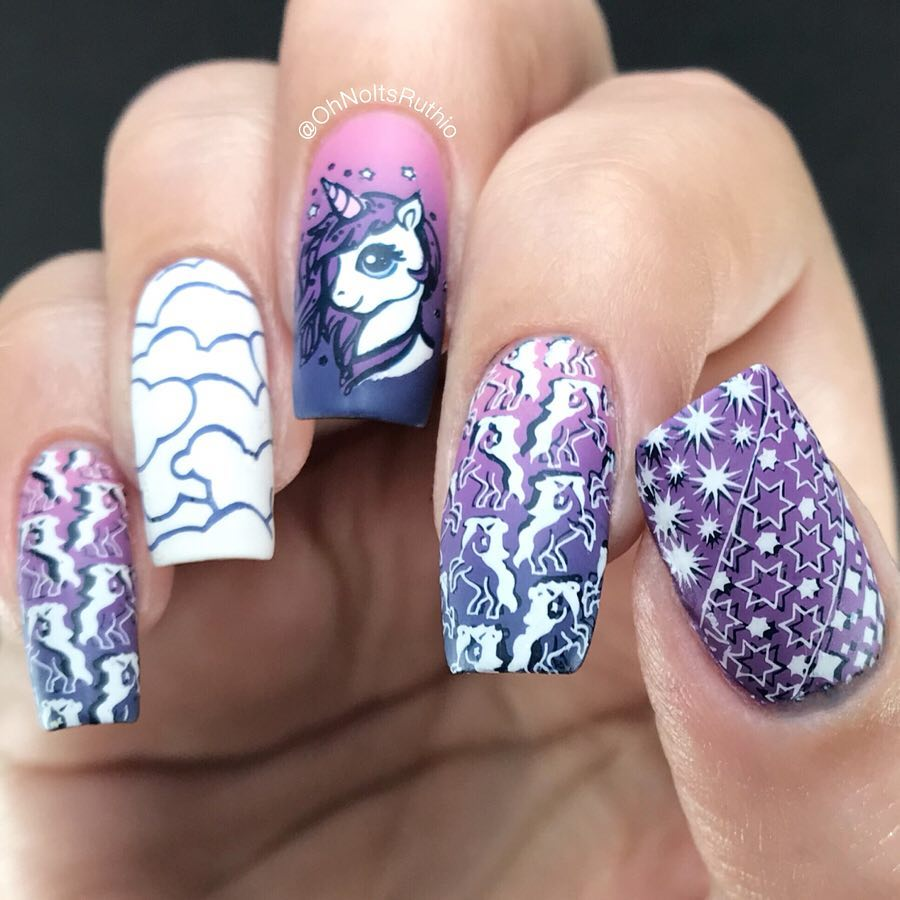 Unicornucopia.I dont have much to say about my current nails except yeah...I still love unicorns,  I am 32 years old..Images from new plate - B042 Head In The Clouds .PRSample nailitdaily
