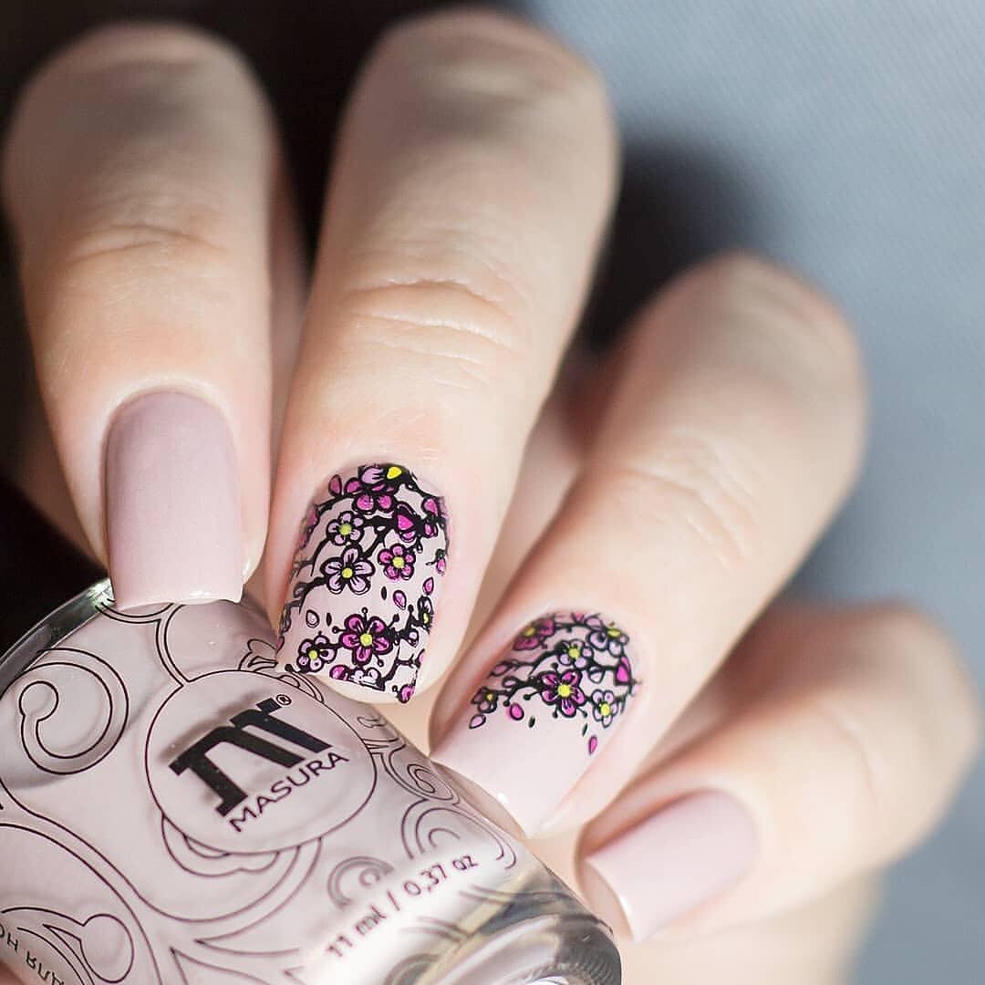 Amazing nails by using stamping plate Whats Up Nails - B017 Spring Elation ($7.75 USD) available on our site WhatsUpNails.com (link in bio) and in store in Chandler Mall (Arizona, USA)! We ship worldwide from USA!cherryblossomnails