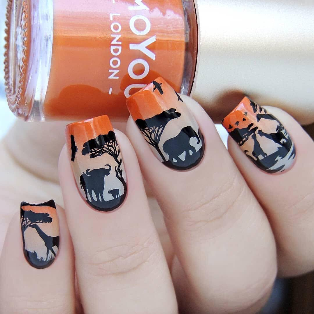 Gorgeous nails by using stamping plate Whats Up Nails - B040 Safari Ride ($7.75 USD) available on site WhatsUpNails.com (link in bio) and in store in Chandler, Arizona!We ship worldwide!gradientnails