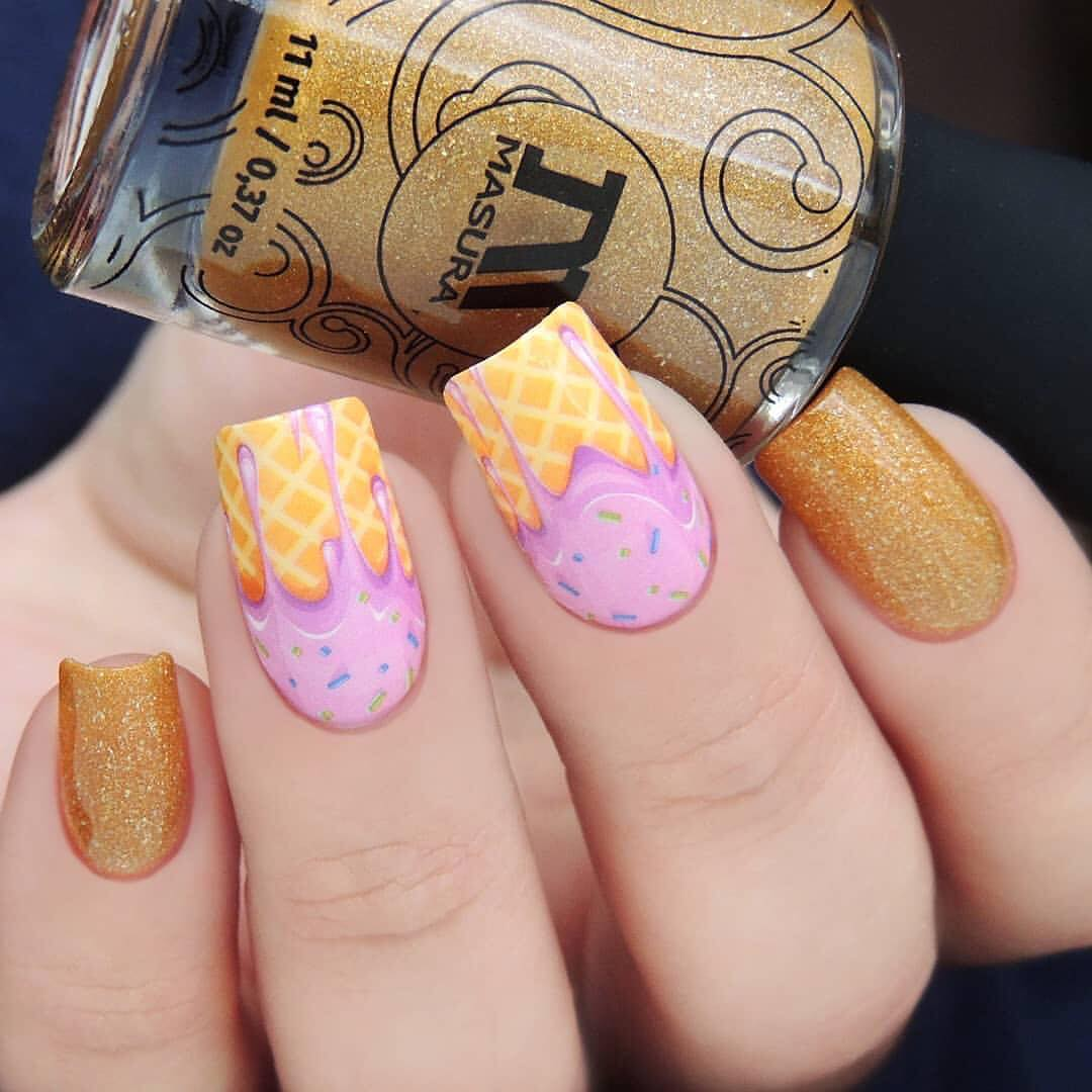 Amazing nails by using Whats Up Nails - P081 Yum Yum Ice Cream Water Decals ($2.75 USD) available on our site WhatsUpNails.com (link in bio) and in store in Chandler, Arizona!We ship worldwide from Arizona, USA!icecreamnails