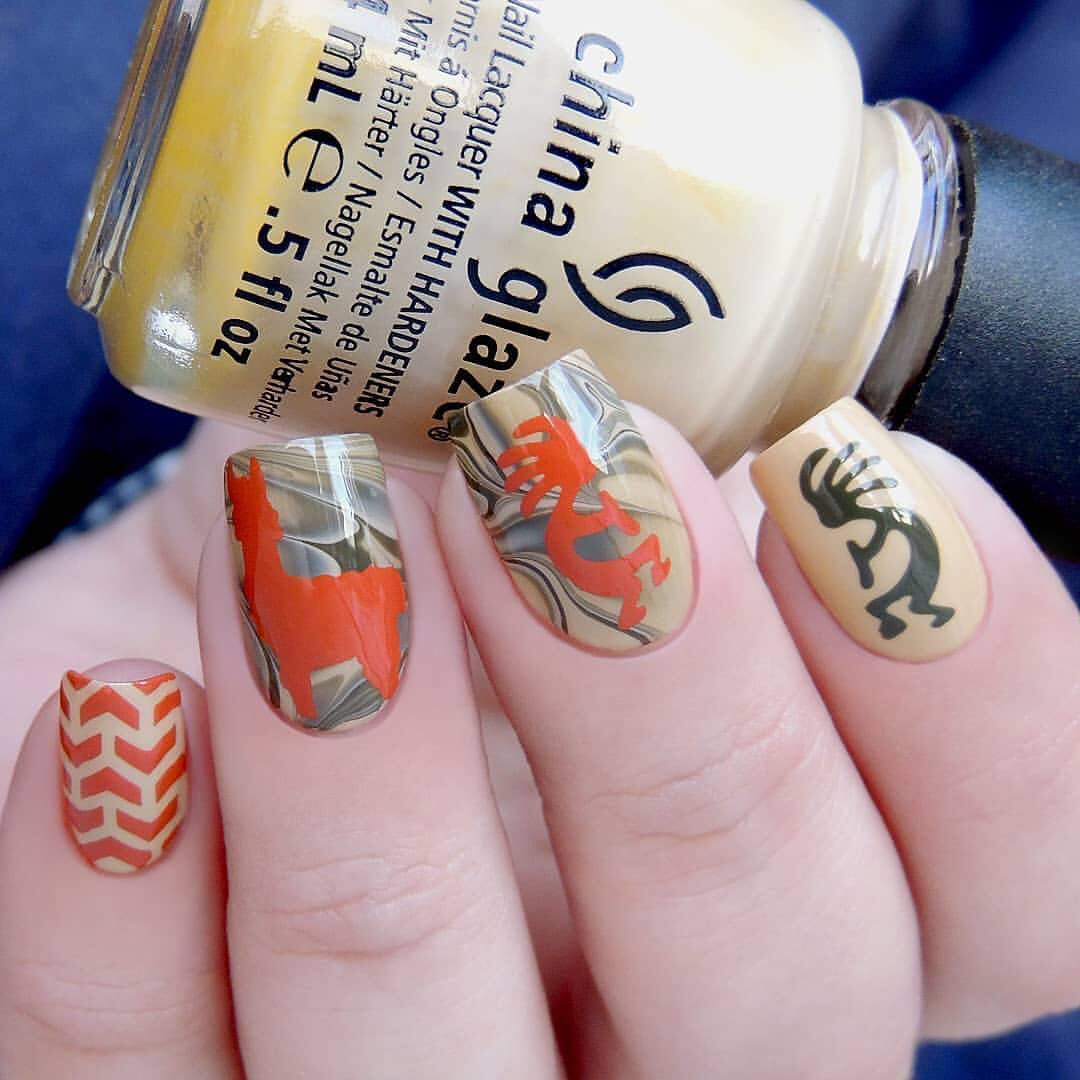 Adorable nails by using Whats Up Nails - Kokopelli, V-pattern and Llama Stencils ($3.75 USD each) available on our site WhatsUpNails.com (link in bio) and in store in Chandler, Arizona!We ship worldwide from Arizona, USA!whatsupnailsvpatternstencils