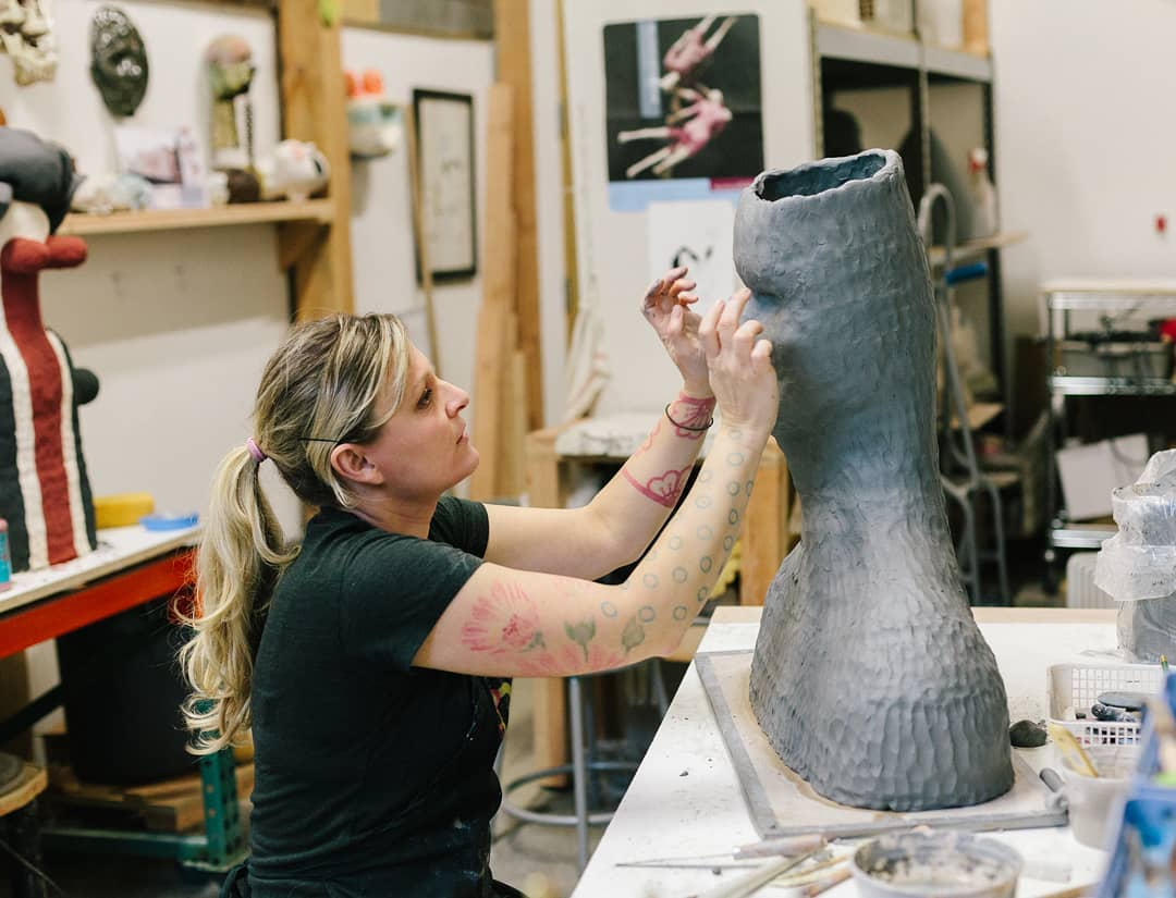Paige Wright (here! I amone of the 2019 Ceramics Monthly Emerging Artists, and Im taking over the social media today.For me,studio time is the best time, and isalsothe foundation for my work. The studio shotsshown herereflect my belief inmaintaining an active studio practice and relationship with the studio. emerging