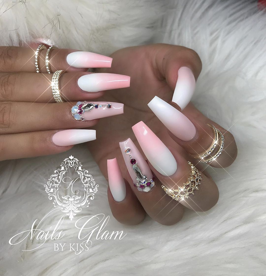 Pink and white ombr ....ombrenails