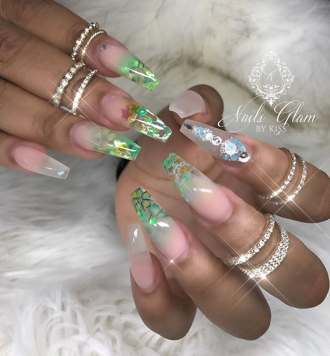 Green ombr with flowers inside ....nailsdone