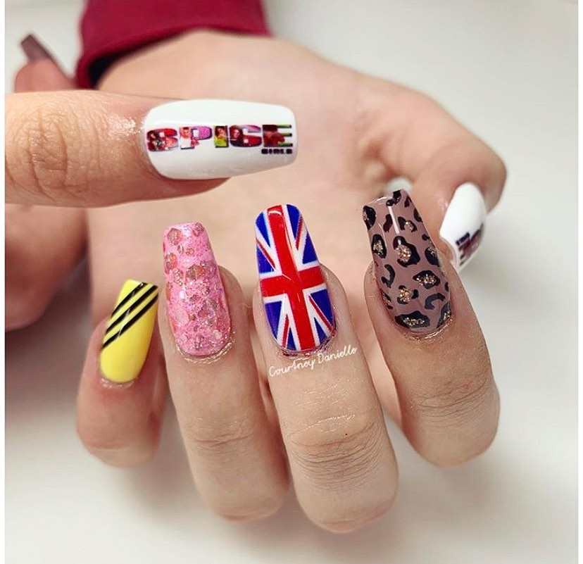 SPICE UP YOUR LIFE We are obsessed with these nails by - created with a little help from her V11 NANO Nail Printer - for her client going to see the fabulous foursome! ...PrintedNails