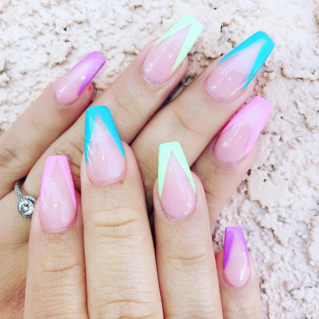 Pastel colors Double tap  FOLLOW glitterombrenails