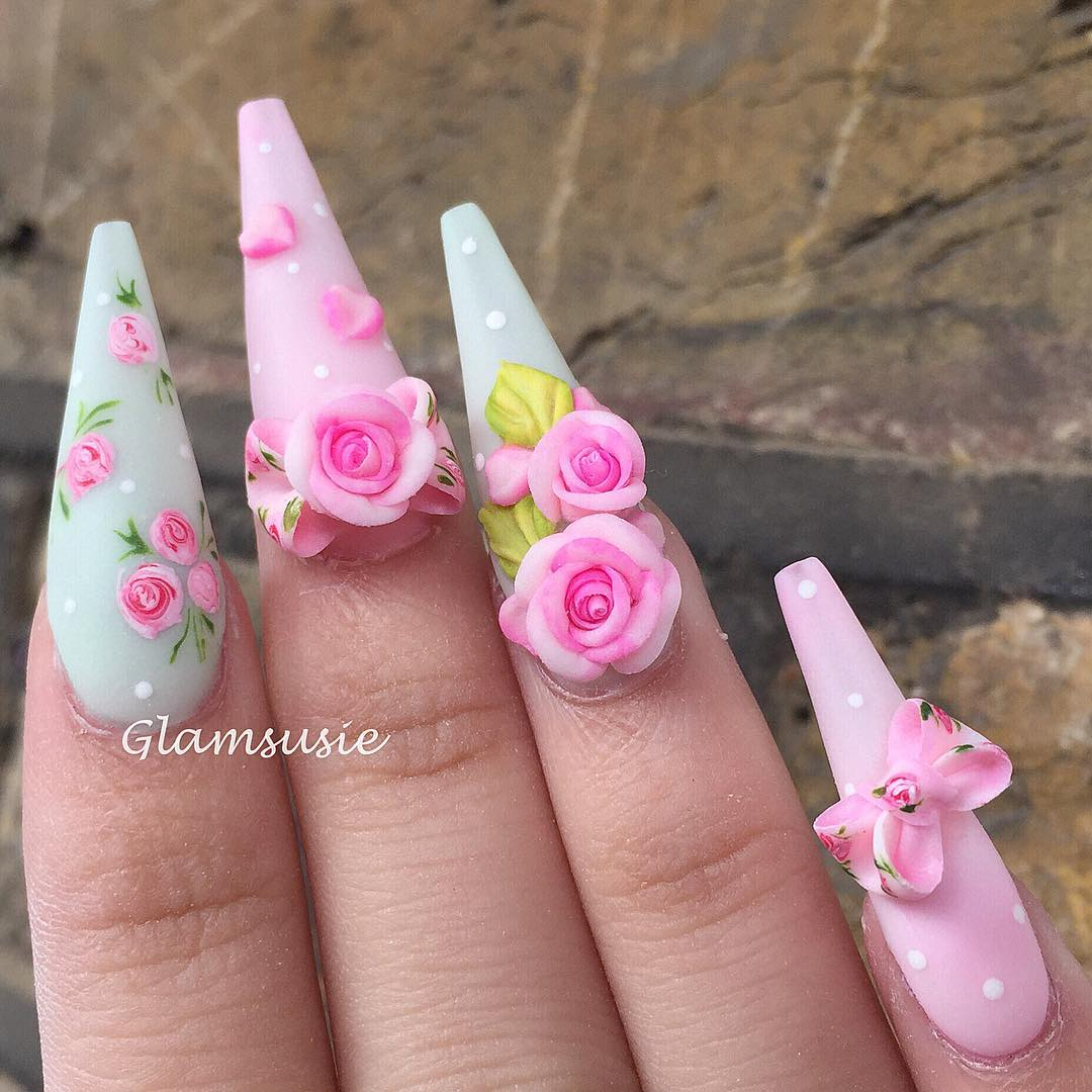 Vintage design using charm pieces from my new collection Fall in Love  Im totally loving the matte pink  green!!  nailswag