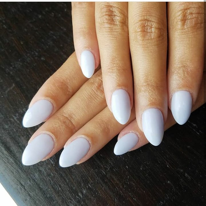 Soft white on natural nails by ......   foilnails