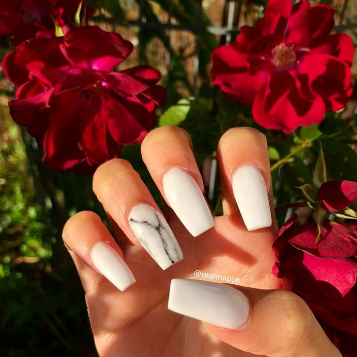 White  w a hint of marble ......   foilnails