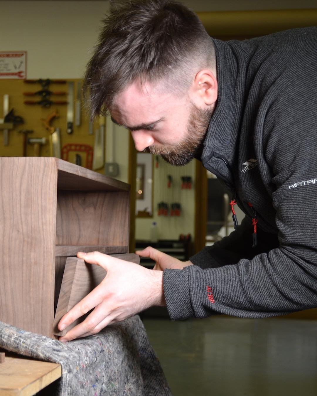 Lots of drawer fitting going on in the furniture school at the moment. This is starting the process with the precise fitting of the drawer fronts to the carcase.