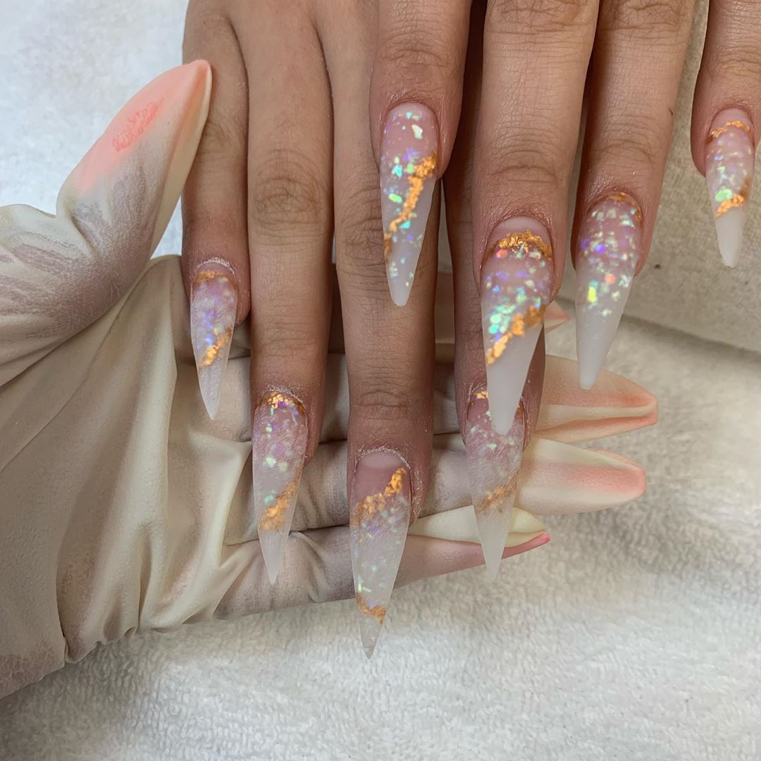 Recreated set  used crystal clear and rose gold chrome flakes  shiningclaws