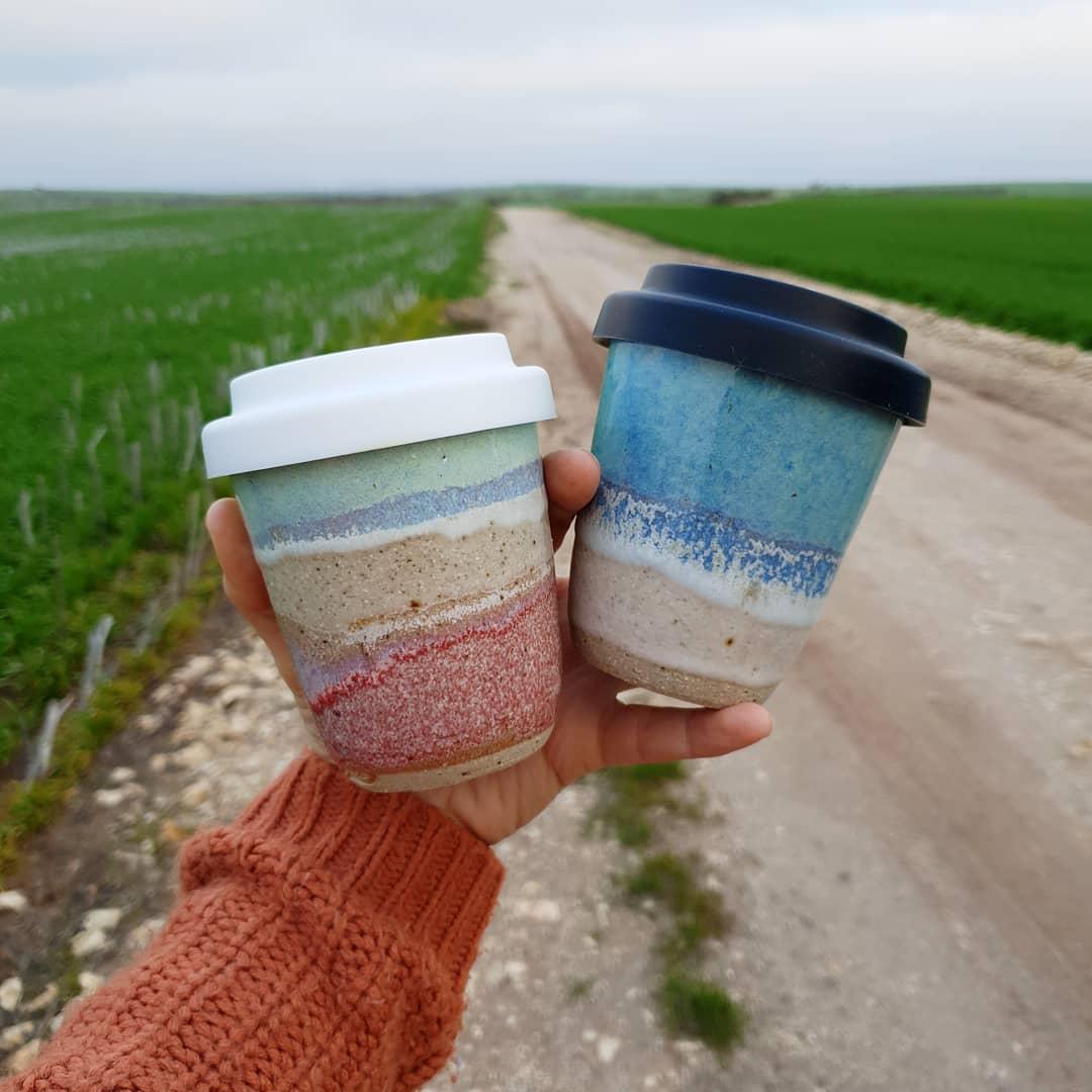 The roads are beautiful but long on the E.P.Travel cups and mugs freshly dropped off travelcuproadtripcumminsfarmceramicspotterywheelthrownalwaysacountrygirlmrsfisherspottery