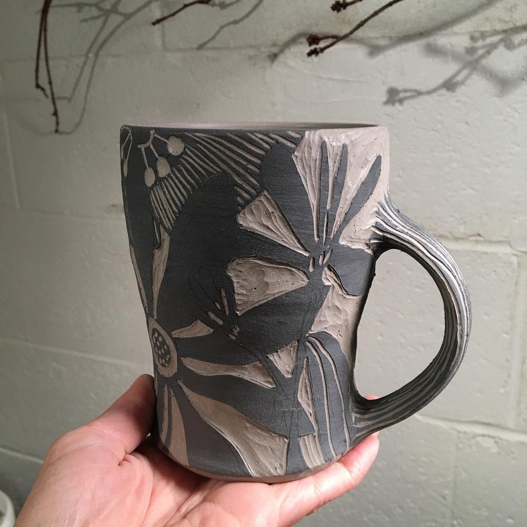 Mama is busy mug with floral design... clay