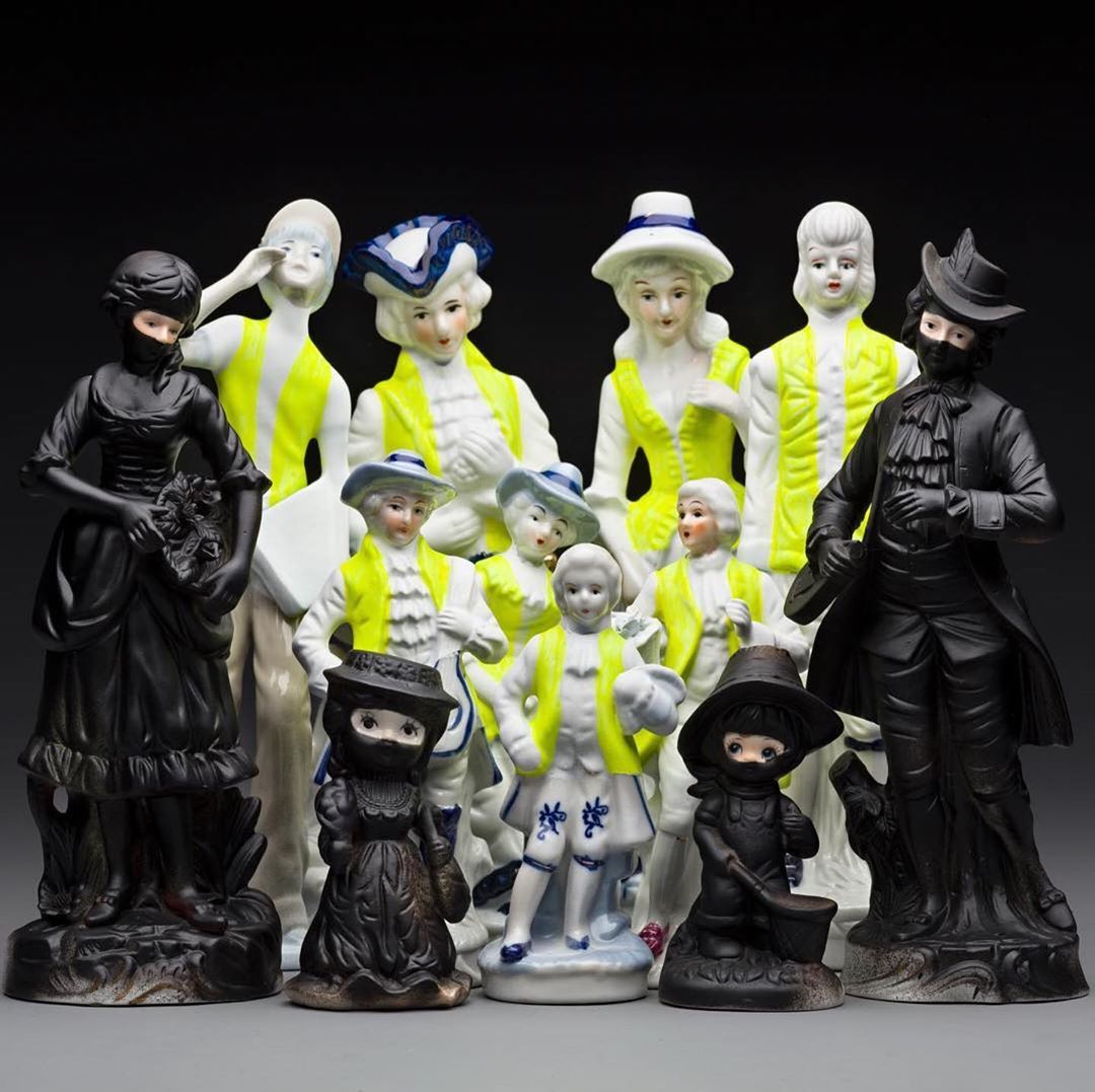 Noticing 13: violenceriots.questions? buying?contact the makerIts amazing that the yellow vest protests in France are showing no signs of abating, with more protests planned for this weekend, including at Charles De Gaulle Airport. I make work that responds to whats going on in the world and my current show HIGH VIS is a direct response to these protests, and a continuation of my fascination with protests, which started with the Arab Spring in 2012.... Ive been particularly interested in how people define themselves when protesting, from painting their faces in national colours, to wearing particular colours as markers of belonging. In the yellow vests case its high vis vests that everyone must carry in their cars in case of emergency. Who knows what the markers of the next protest somewhere in the world will be? Maybe it will be orange vests? I await with interest, ready to respond.... ..Image by: australianceramicsporcelain