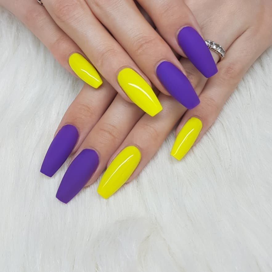 Love these colors Nails made with productsFrom Products used: Neon Purple Gel PaintNeon Yellow Gel Paint nailsofinstagram