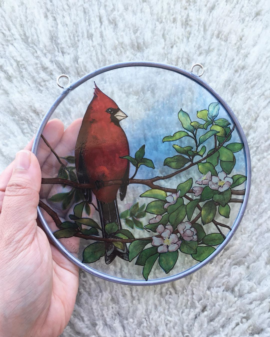 B I R D  L O V E R S   How sweet is this handmade red cardinal stained glass?! Its just needing a chain or rope to hang, otherwise its in super shape.  $28CAD (21US) + sh  DM to purchase. Ironwood quail and teak roadrunner already listed in our Etsy shop and  part of our anniversary sale! onibauavailable