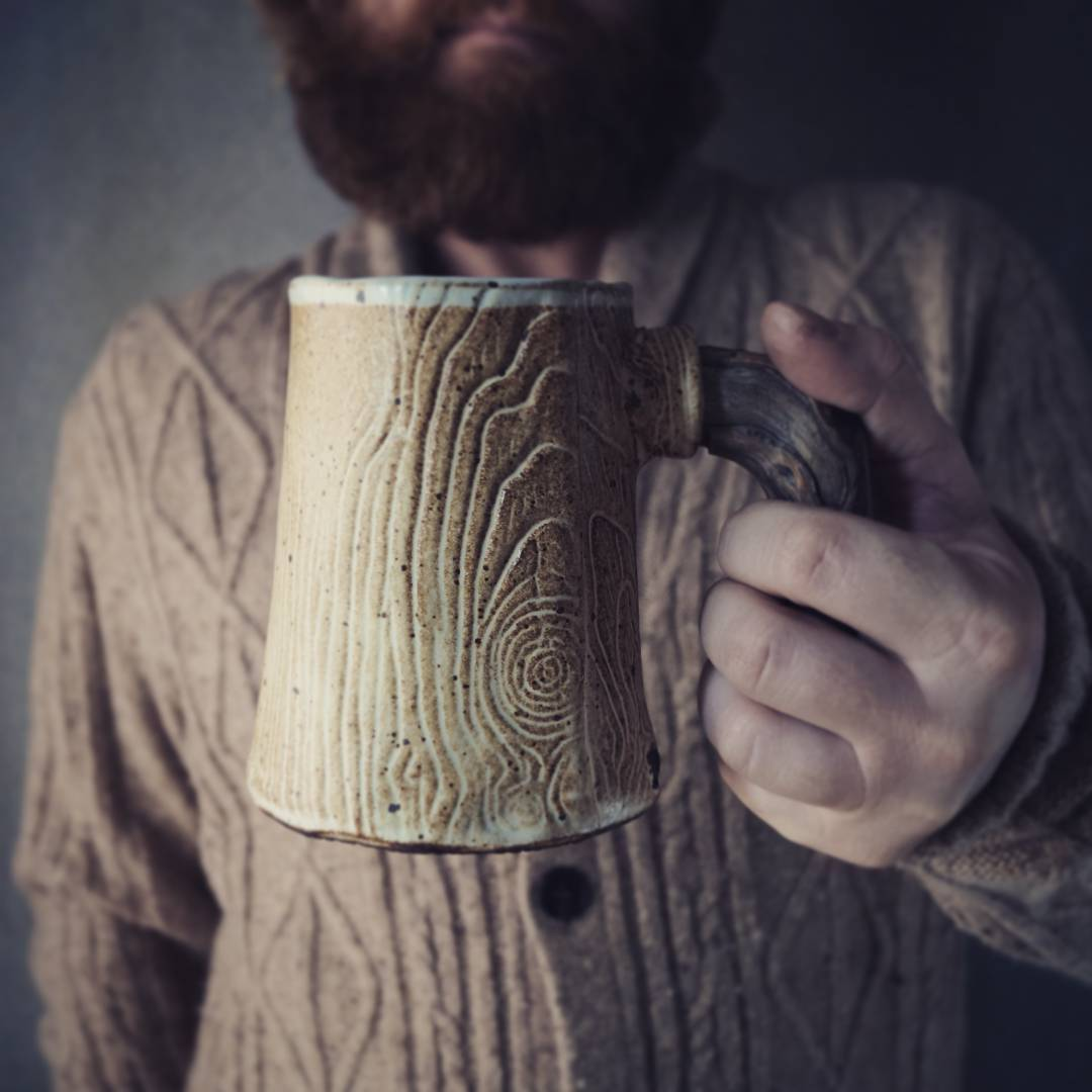 Rustic look mug. Great gift idea for him! Can be found at my SevaArt store at Etsy.com. sevaartstudio