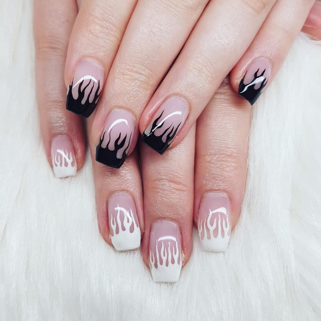 Nails made with gels From Soft Pink Primary White Primary Blacknailgasm