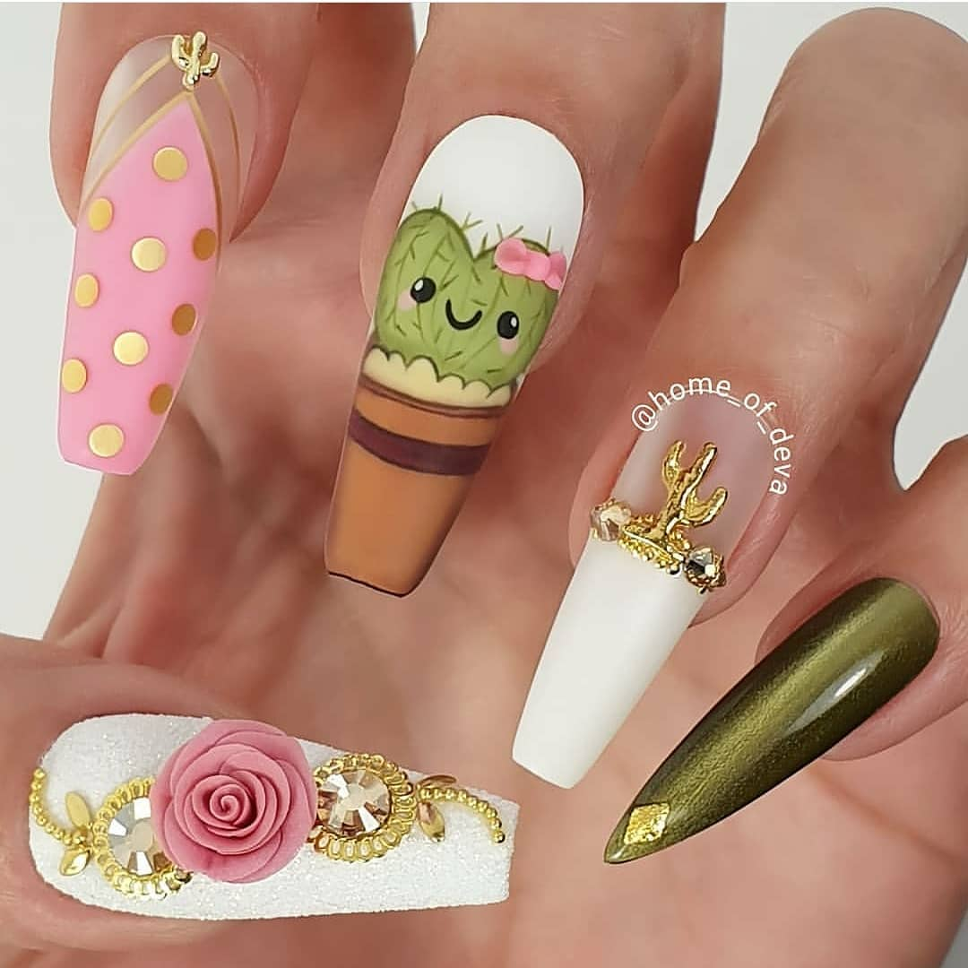 Love these cute cactus nails by  .....nailstagram